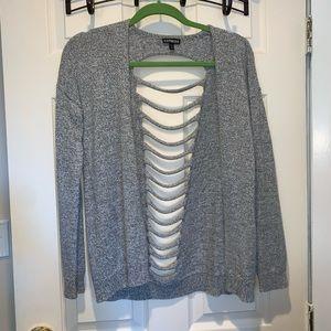 Grey cut out cardigan